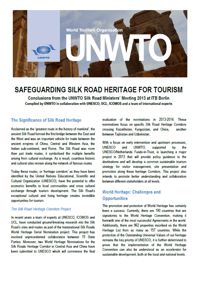 SAFEGUARDING SILK ROAD HERITAGE FOR TOURISM - Conclusions from the UNWTO Silk Road Ministers' Meeting at ITB Berlin 2013