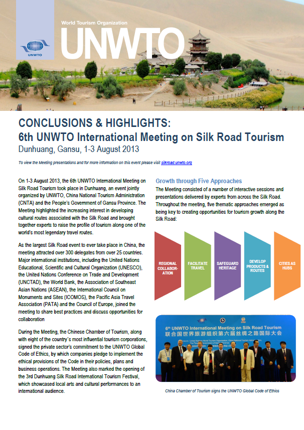 Conclusions & Highlights: 6th UNWTO International Meeting on Silk Road Tourism