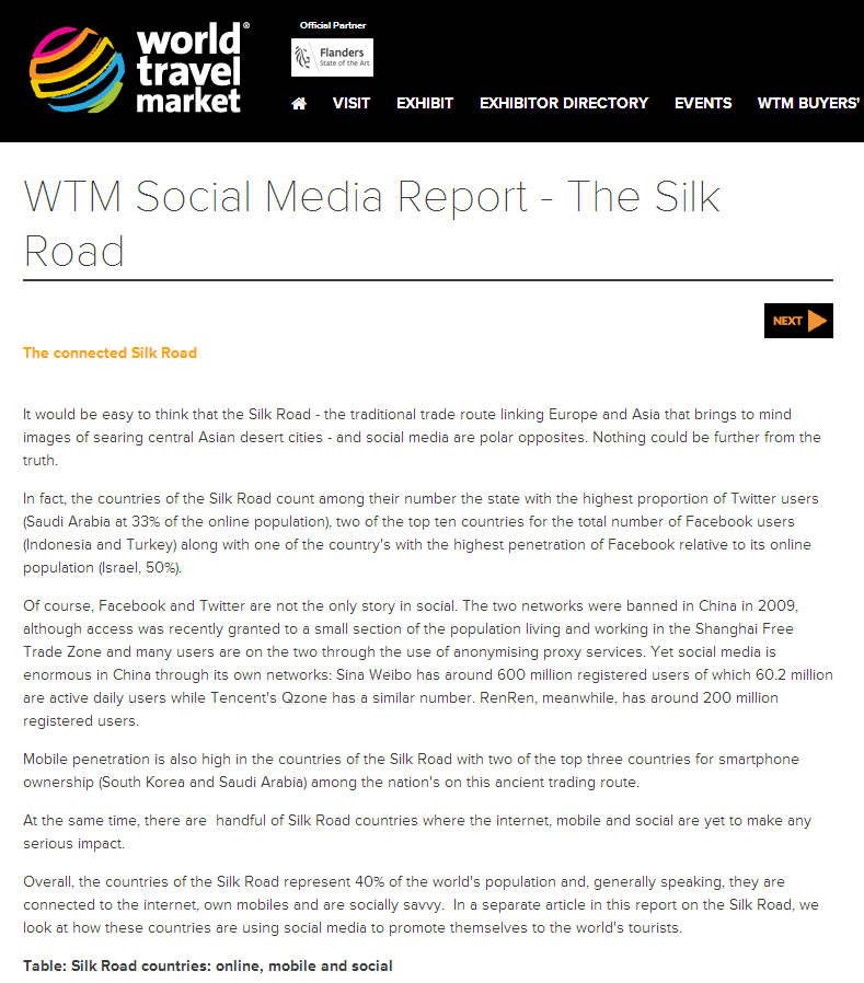 WTM Social Media Report - The Silk Road