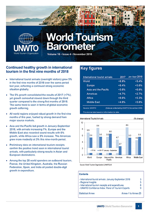UNWTO World Tourism Barometer and Statistical Annex, November 2018